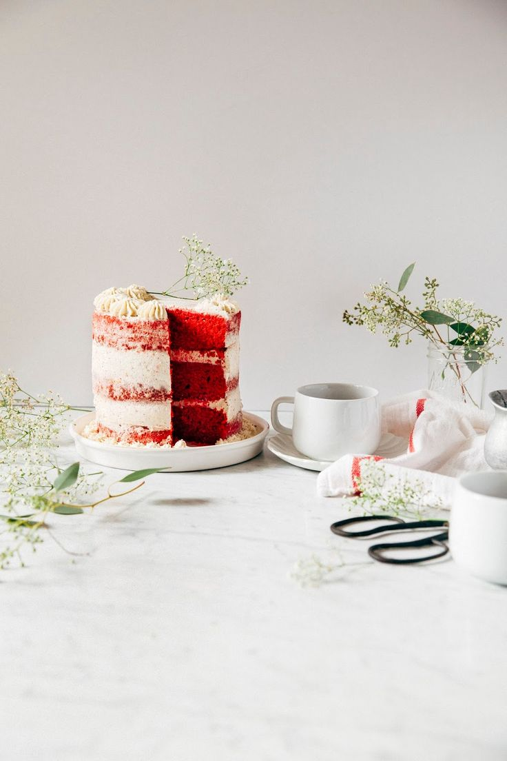 A recipe for a naked red velvet cake with crème fraîche frosting from Hummingbird High for Vermont Creamery.