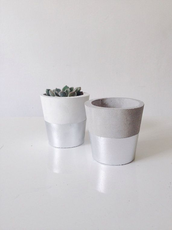 Silver dipped small cement pots / planters or candle holders for cactus, succulents or candles in black, white or grey porcelain concrete