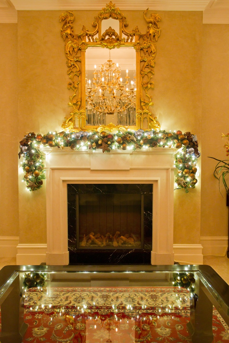 Christmas Garland Ideas For Small Fireplace : Cool blue fireplace garland christmas