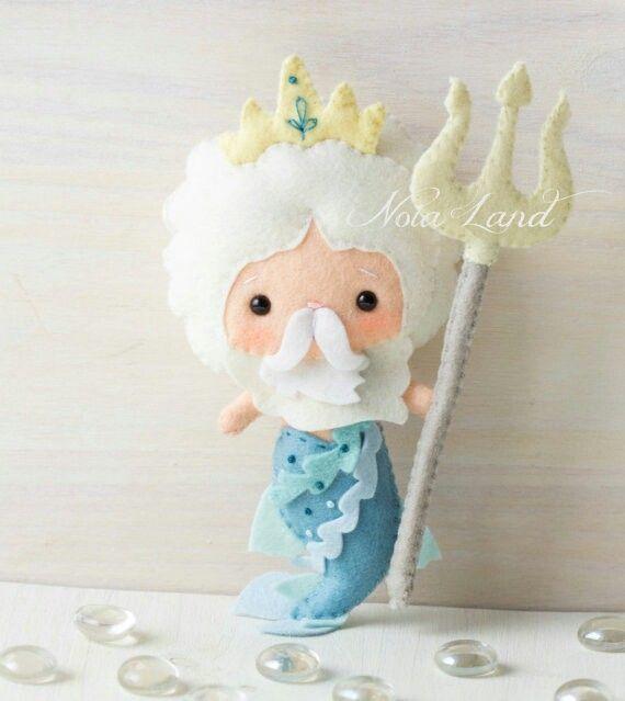 Neptupno  King Neptune merman soft toy felt doll stuffed animal