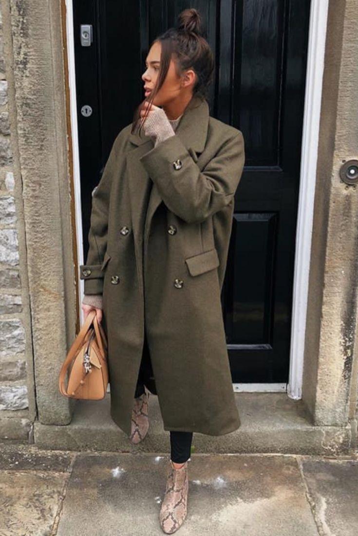 Mode femme automne/hiver tenue informal stylish avec un lengthy manteau kaki H&M, sac ca…
