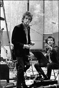 "Bob Dylan and Mike Bloomfield recording ""Like a Rolling Stone""."