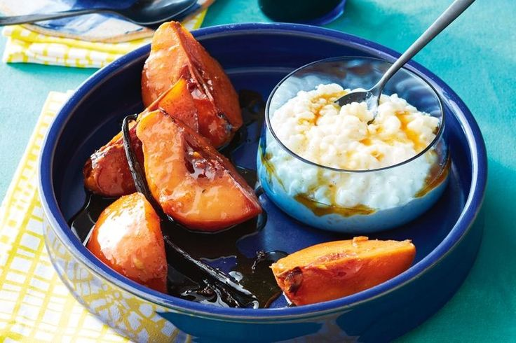 Vanilla rice pudding with roast quince