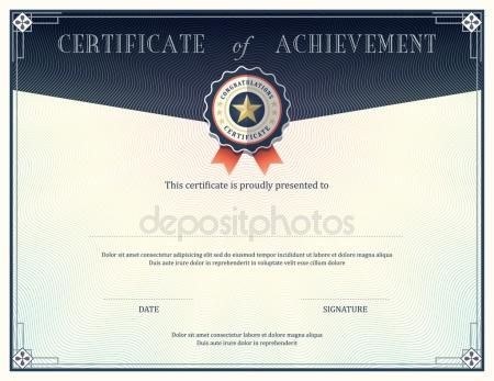 Certificate of achievement template 25 certificate of achievement design template 76834185 yelopaper Gallery