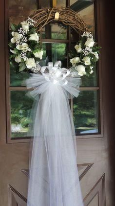 White Rose Wedding Door Wreath, Grapevine Wreath, Bridal Shower Wreath, Bridal…