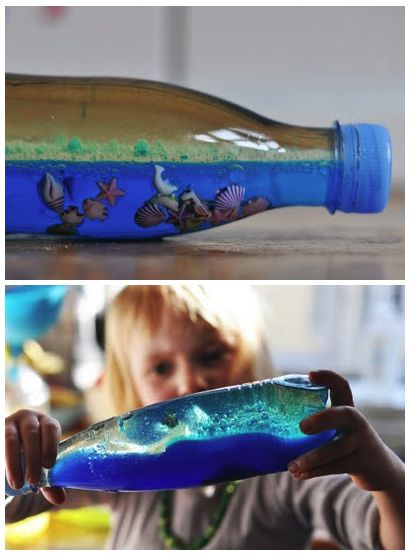 DIY ocean in a bottle: oil + water + blue food coloring (with glued cap)