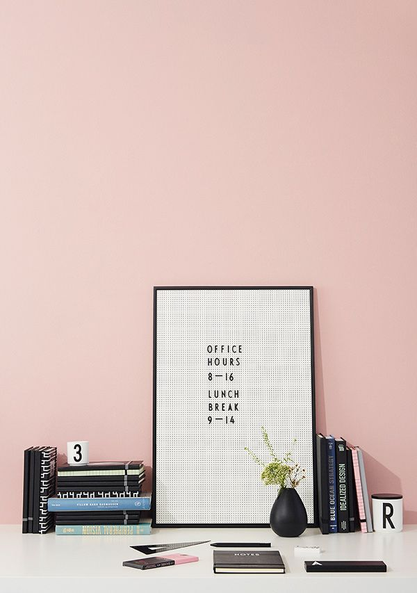 Office hours and lunch break !   - Written on the stylish message board.  Available in black, pink, blue, green and grey. Dimensions: A2.