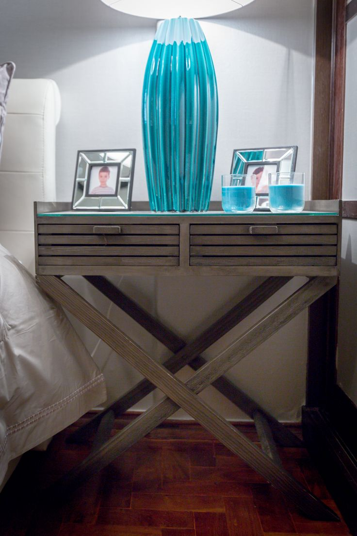 Paulo Piteira | Quarto | Bedroom | Bedside table | Candeeiro | Table Lamp | Blue | Candles | Home | Interior | Design