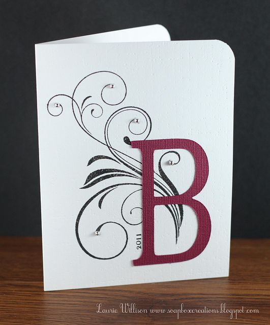 Perfect For Anniversary Cards And: Handmade Monogram Card ... Clean And Simple ... Stamped
