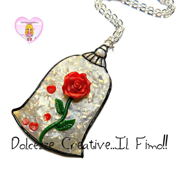 Collana Rosa incantata - La bella e la bestia - HANDMADE - kawaii idea regalo, by Dolcezze creative Il fimo, 16,00 € su misshobby.com