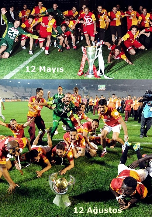 Hayatımın en mutlu günlerinden biriydi 12 Mayıs.  Hayatımın en heyecan verici derbilerinden biriydi 12 Mayıstaki Fener-Galatasaray maçı.  Hayatımın en mutlu günlerinden biriydi 12Ağustos.  Hayatımın en heyecan verici derbilerinden biriydi 12Ağustostaki Fener-Galatasaray maçı.  Bizde mutluluklar hiç değişmedi! Bizde başarılar hiç değişmedi! Eğer bir büyük varsa, bir kral varsa Türk futbolunda, Galatasaraydır!  Eğer aslan gibi adamlar varsa, fotoğraftakilerdir!  Galatasaray aşktır…