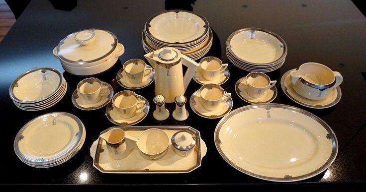 Clarice Cliff 1937 Honeyglaze Art Deco Dinner Set With Original Receipt