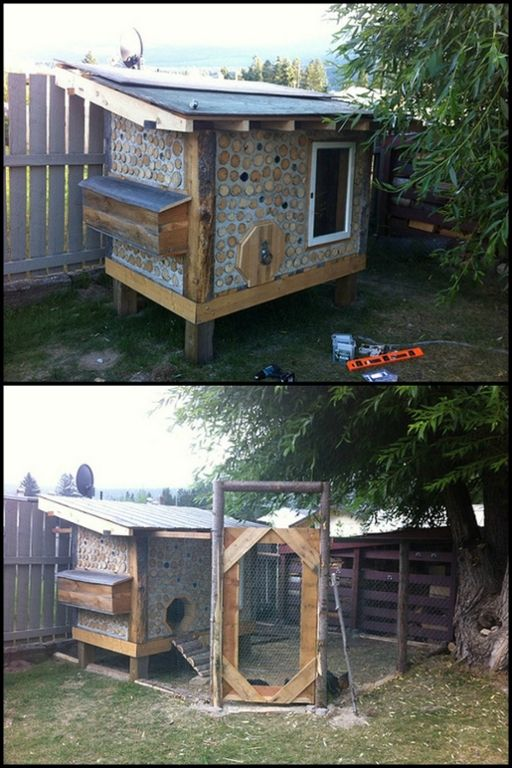Build a predator-proof chicken coop from cordwood for your chooks!