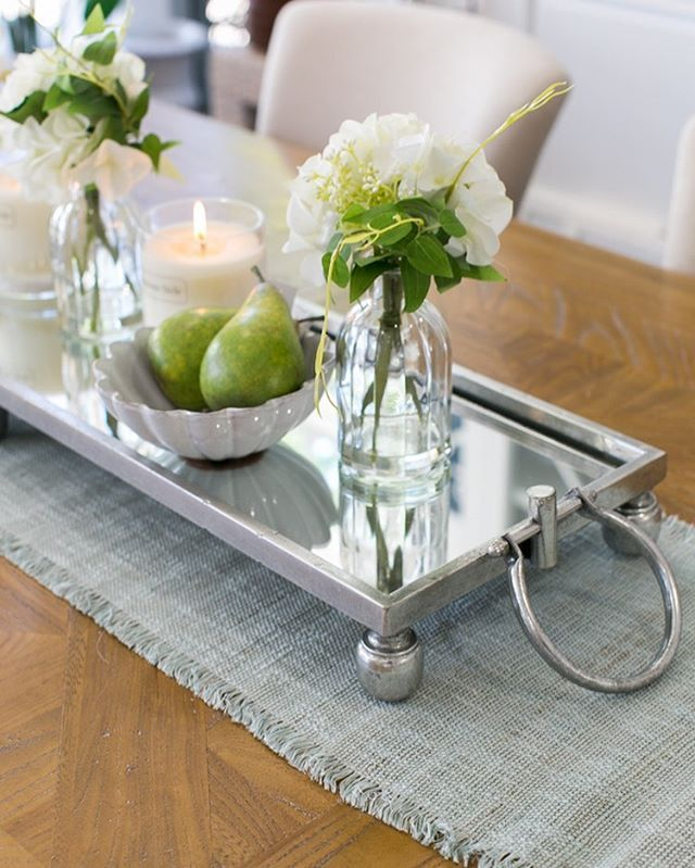 A Must Have For Your Hamptons Spring Table The Dover Mirror Tray Is All Things Divine Di Table Centerpieces For Home Dining Table Decor Dining Centerpiece