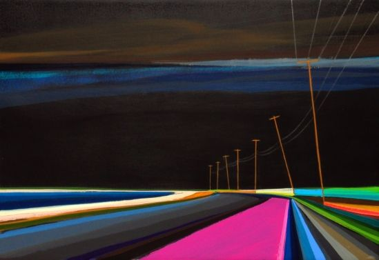 """Grant Haffner """"Long Beach Nights""""  Acrylic on wood panel, 2010  8.25 x 12 inches Signed, titled and dated verso"""
