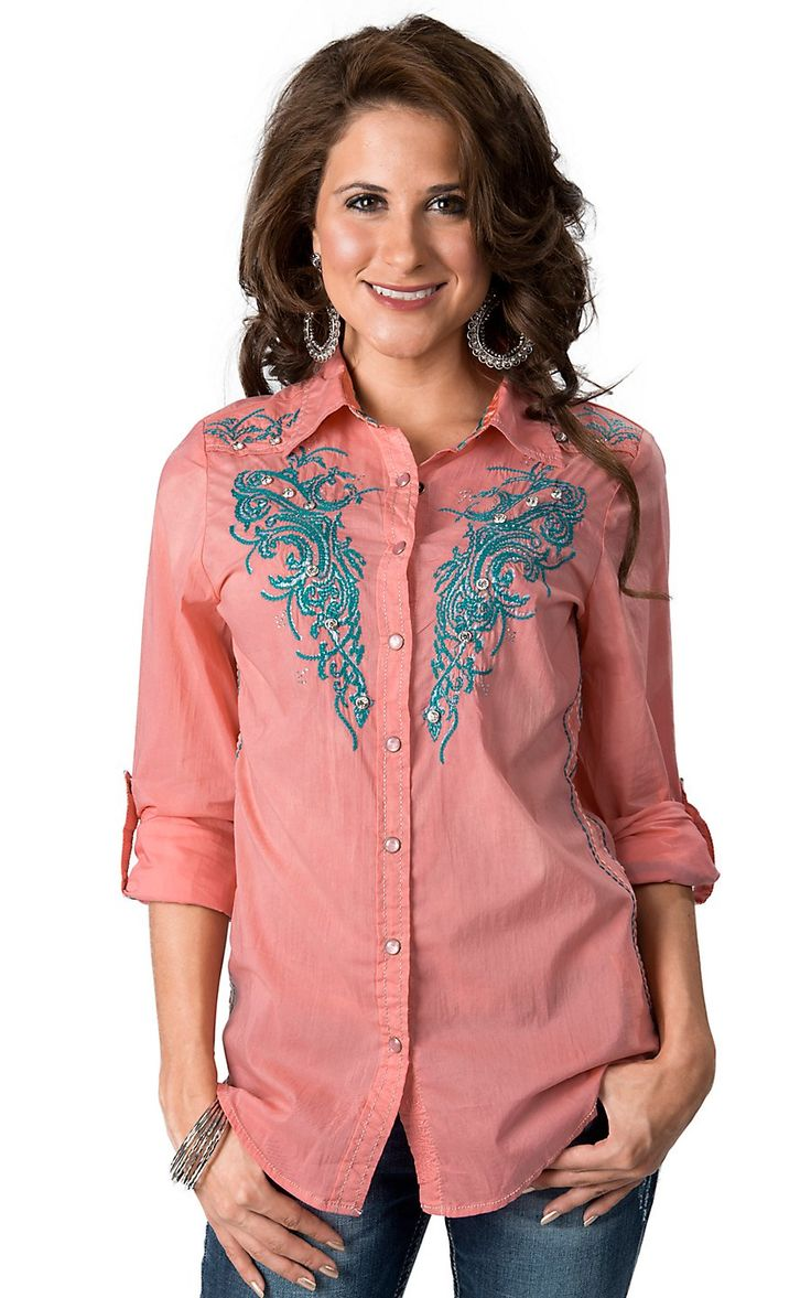 Roar Women 39 S Aquarius Ii Coral With Turquoise Embroidery