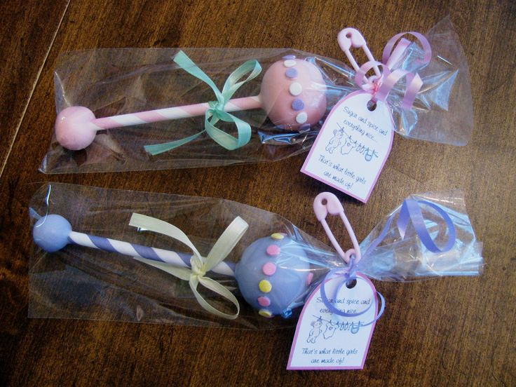 Cake pop rattle for baby showers