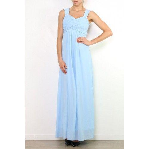 Vestido Fiesta Espalda Encaje Azul Cielo | Suen-Vestidos de fiesta