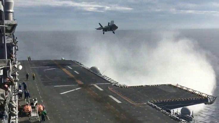 Вертикальная посадка истребителя F-35B