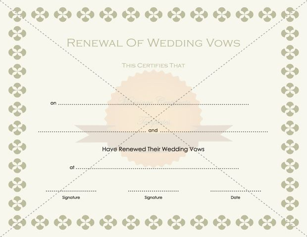 Renewal Of Marriage Certificate Template - marriage certificate template