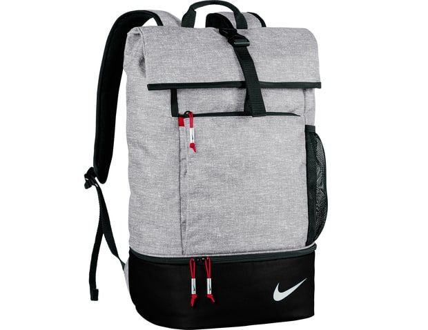 Nike Sport Backpack If you're finally ready to heed your chiropractor's advice and switch to a backpack, the lightweight Nike Sport will ease the transition. The main compartment includes a magazine sleeve, eliminating the need for a separate laptop bag, and the zippered shoe compartment prevents clean clothes from touching sweaty sneakers. A fold-over top and buckle closure are cool but functional design touches, and red detailing keeps the classic gray-and-black colorway from fading into…