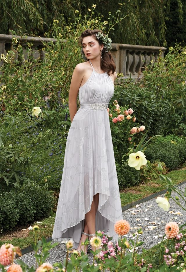 Foil Halter Pleated High Low Long Dress from Camille La Vie and Group USA