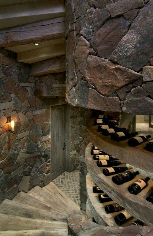 Wine cellar w spiral stairs plus built in wine bottle for Wine cellar pinterest