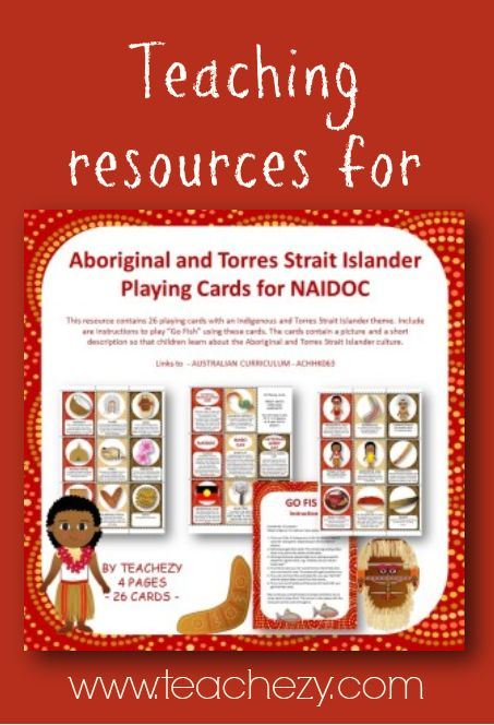 "26 playing cards with an Indigenous and Torres Strait Islander theme. Included are instructions to play ""Go Fish"" using these cards. The Cards contain a picture and a short description so that children learn about the Aboriginal and Torres Strait Islander Culture. Great for NAIDOC Day, National Reconciliation Week Harmony Week and Sorry Day."