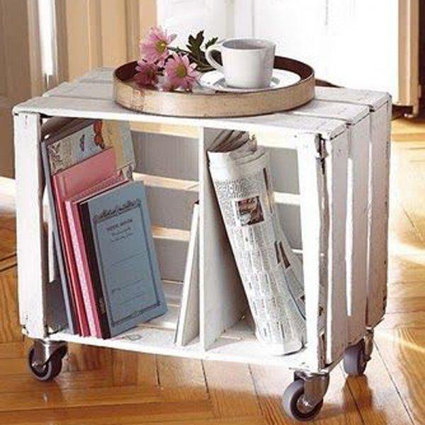 Table de chevet avec une caisse en bois recyclée