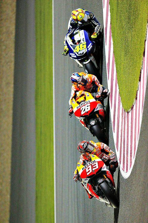 Marc Marquez, Dani Pedrosa and Valentino Rossi