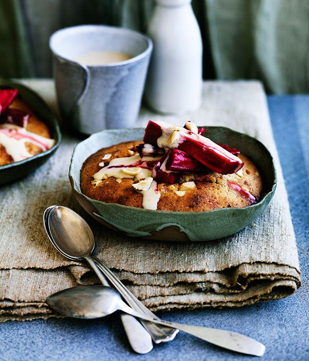 We love this hot pudding (and the rhubarb hidden at the bottom), paired with thick chilled custard. Perfect.