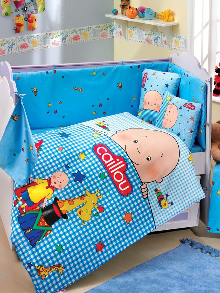 Caillou Baby Deluxe Duvet Cover Set Cotton 4 Pieces Blue Made In Turkey Please Check The Dimensions Before Purchasing
