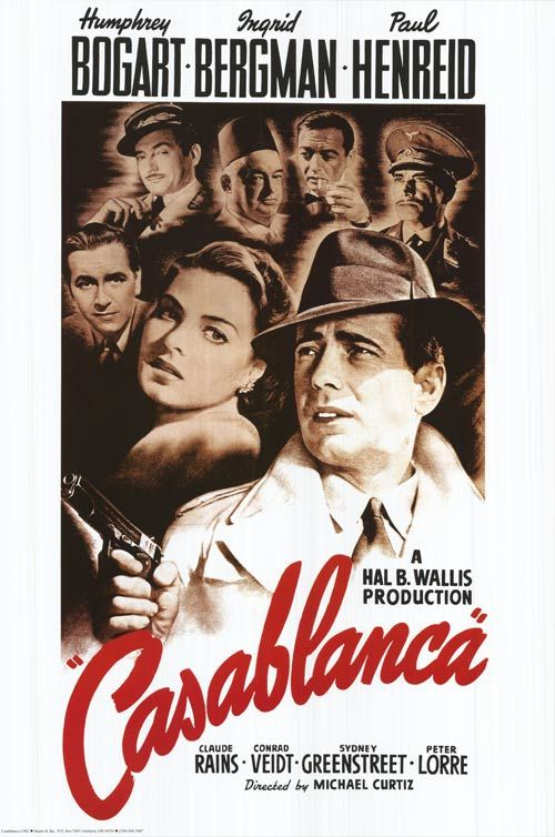 Directed by Michael Curtiz.  With Humphrey Bogart, Ingrid Bergman, Paul Henreid, Claude Rains. In Casablanca, Morocco in December 1941, a cynical American expatriate meets a former lover, with unforeseen complications.