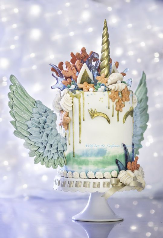 Unicorn With Wings And Rainbow Mermaid Unicorn Cake. ...