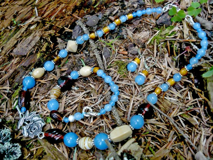 Bule jade, and Indian glass. Set - necklace, bracelet, earrings - unique.