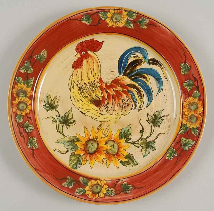 Captivating Maxcera Corp RED ROOSTER Dinner Plate 8357630. Rooster PlatesRooster  KitchenRooster ...