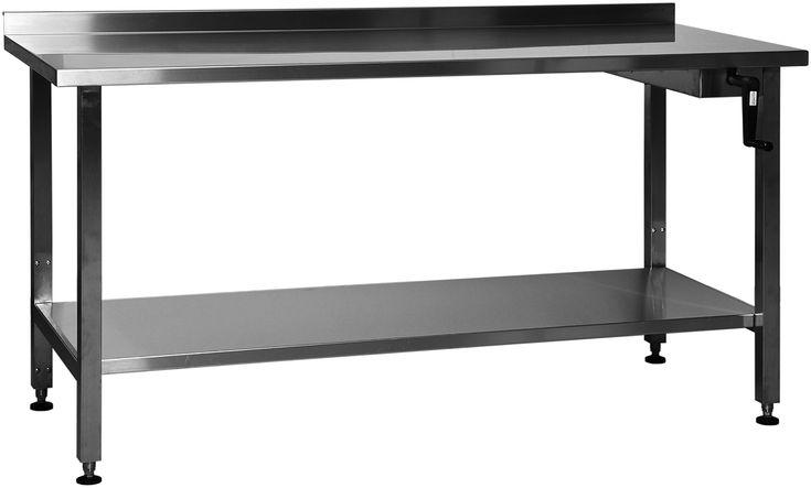 Høyderegulerbar benk i flere lengder manuel L1200 D650 mm   Rustfritt stål