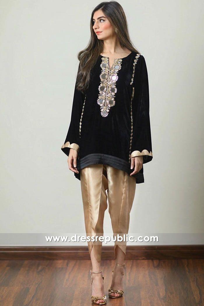 38e0098585 DR14915 Pakistani Designer Velvet Kurti Australia With Tulip Pants Shop  Online