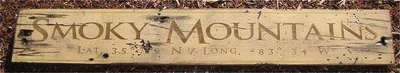 Smoky Mountains  Latitude & Longitude Wood by TheLiztonSignShop, $49.00