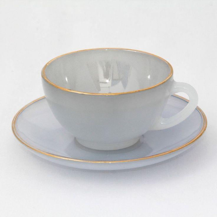 Arcopal Harlequin Cup & Saucer Opalescent Glass Powder Blue Gilt Vintage