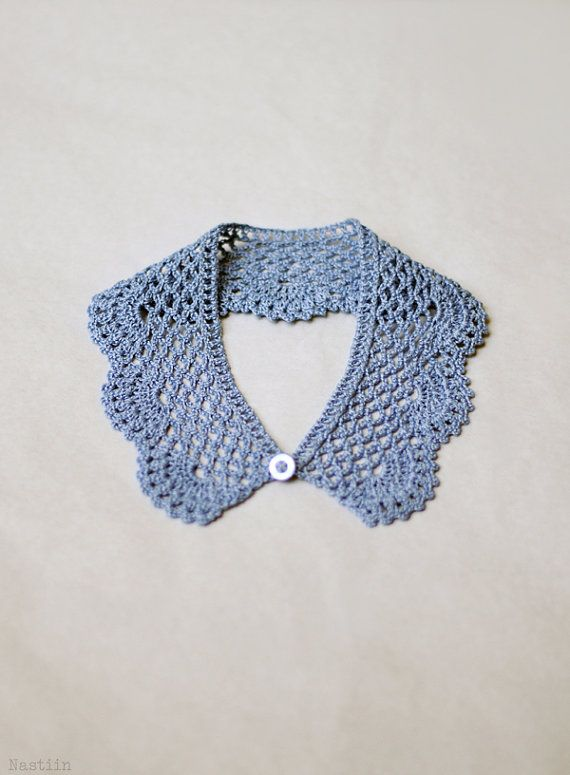 Crochet lace collar Blue crochet collar Detachable от Nastiin