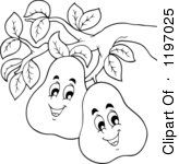 Happy Outlined Pears On The Tree