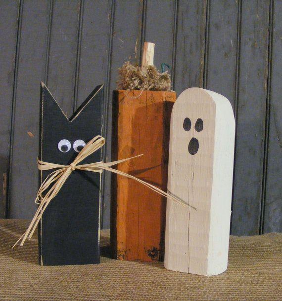 Rustic Halloween Black Cat Pumpkin Ghost Shelf by GFTWoodcraft