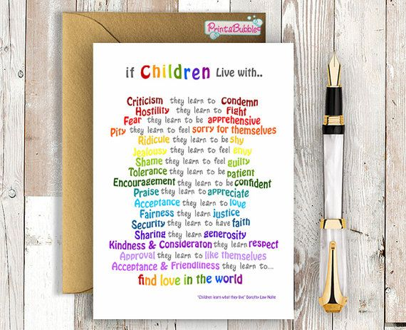 Printable Greeting Card. Children Learn what they live. Etsy