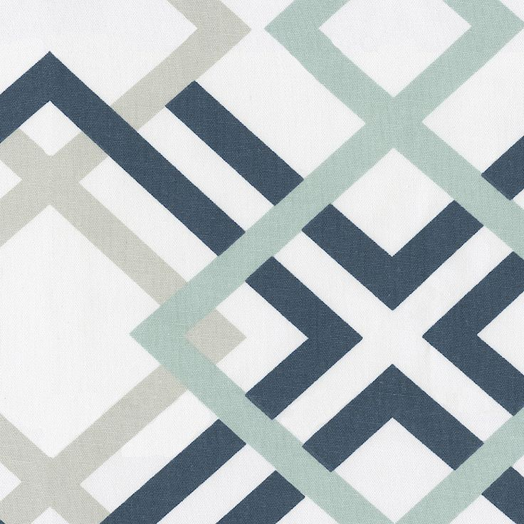 Navy and Gray Geometric Fabric by the Yard   Carousel Designs.  This fun geometric design features soothing shades of robin egg blue, French gray, and navy. Printed on an antique white cotton duck, this fabric is great for all of your home decor project.