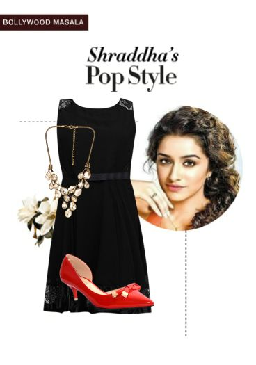 'Shraddha's pop style' by me on Limeroad featuring Solids Black Dresses, Gold Necklaces with Red Pumps