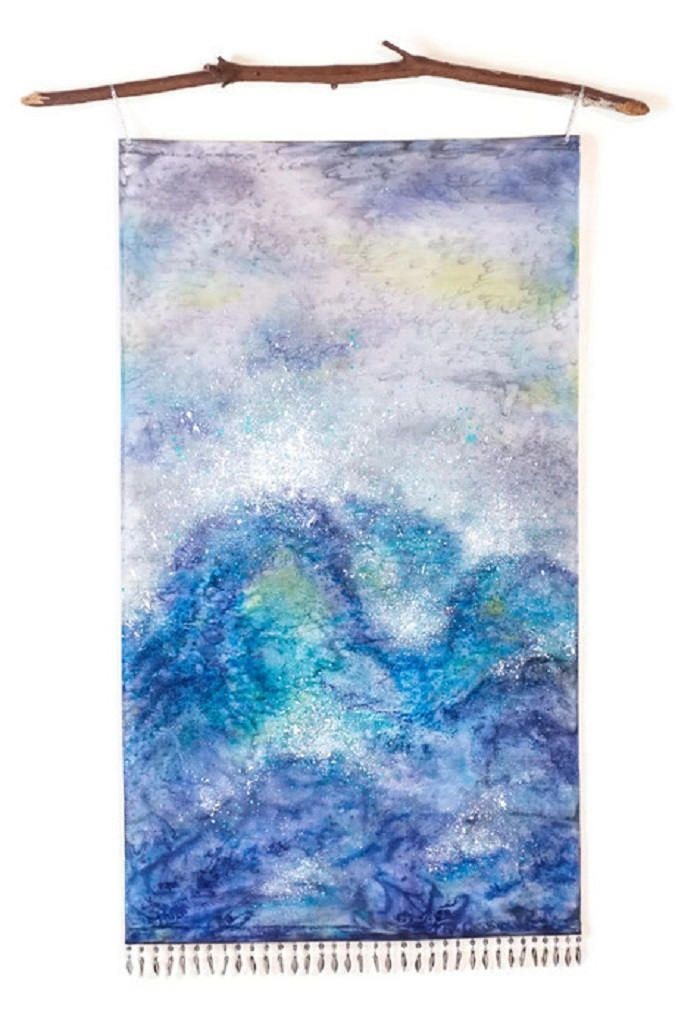 Ocean Waves Art Watercolor Silk Tapestry Ocean Painting Nature
