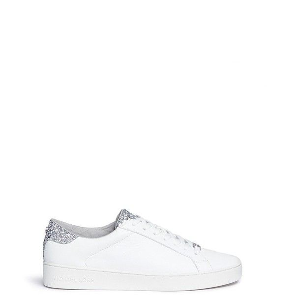 Michael Kors 'Irving' glitter panel leather sneakers (625 RON) ❤ liked on Polyvore featuring shoes, sneakers, white, white lace up shoes, michael kors shoes, white leather shoes, white lace up sneakers and white leather sneakers