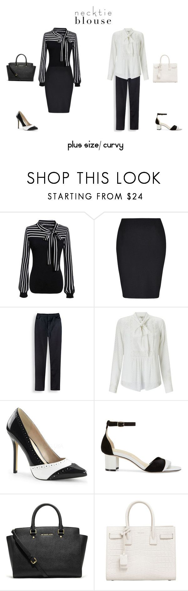 """Plus Size/ Curvy Necktie Blouse Outfits"" by jessicasanderstx ❤ liked on Polyvore featuring WithChic, City Chic, Blair, Somerset by Alice Temperley, Sarah Flint, Michael Kors, Yves Saint Laurent and necktieblouse"