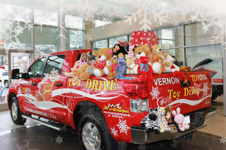 Vernon Toyota does an annual toy drive each year. Their truck is parked in the mall and everyone can drop off their toys for the Salvation Army. This photo was taken on the day before they delivered the toys. Have fun finding the logo. This year they filled over two trucks full!